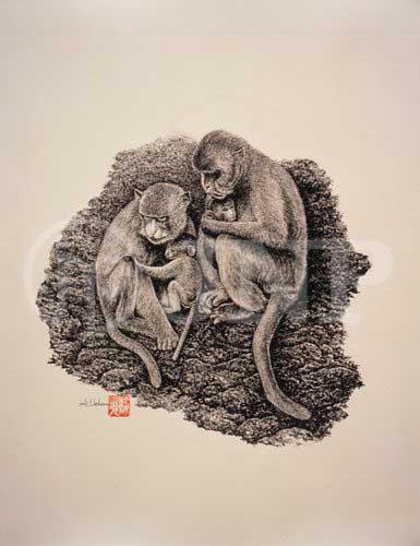 猿 親子4P